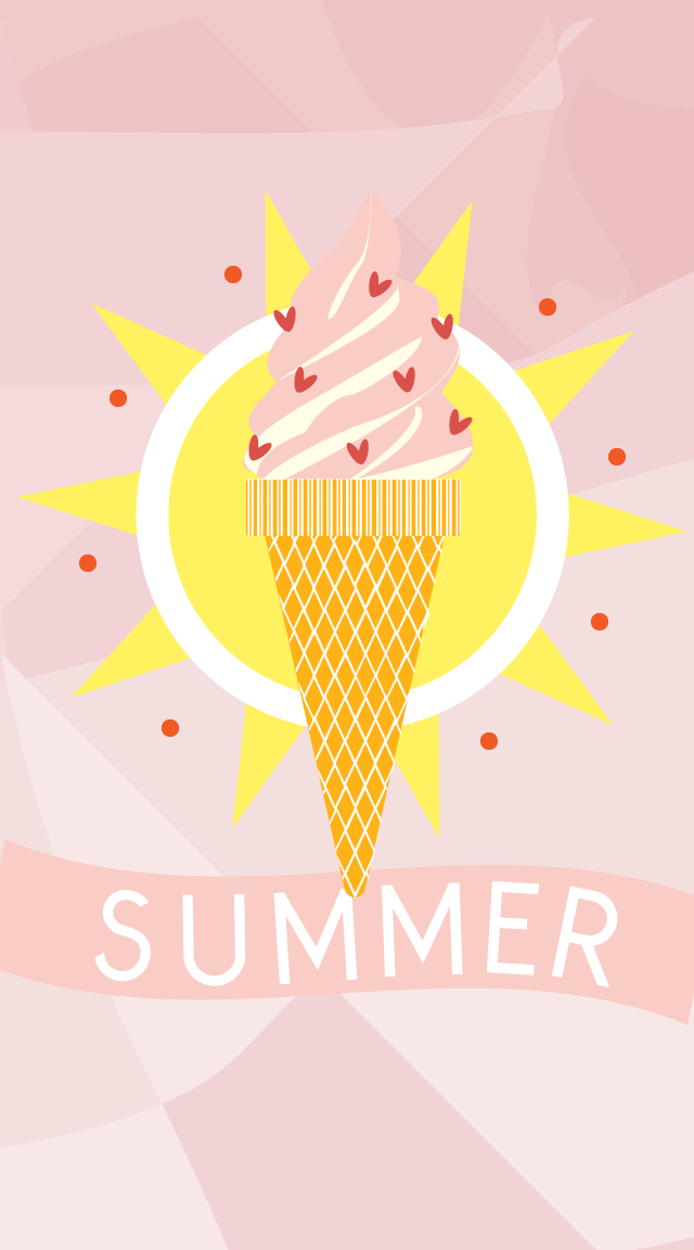 Cute Love Quote Wallpapers For Mobile Summer Pink Ice Cream Sundae Iphone Lock Wallpaper