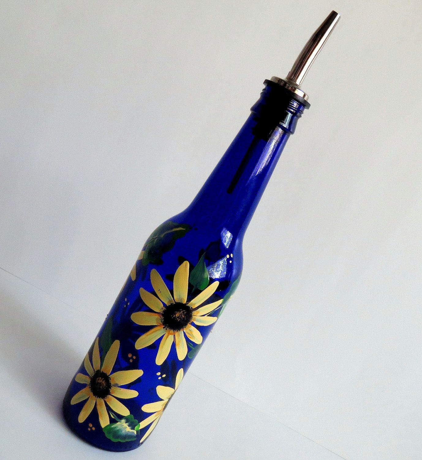 Recycle Beer Bottle Oil Dispensers, Salad Dressing Bottles, Soap Dispenser,  Kitchen Decor, Cobalt Blue Beer Bottles