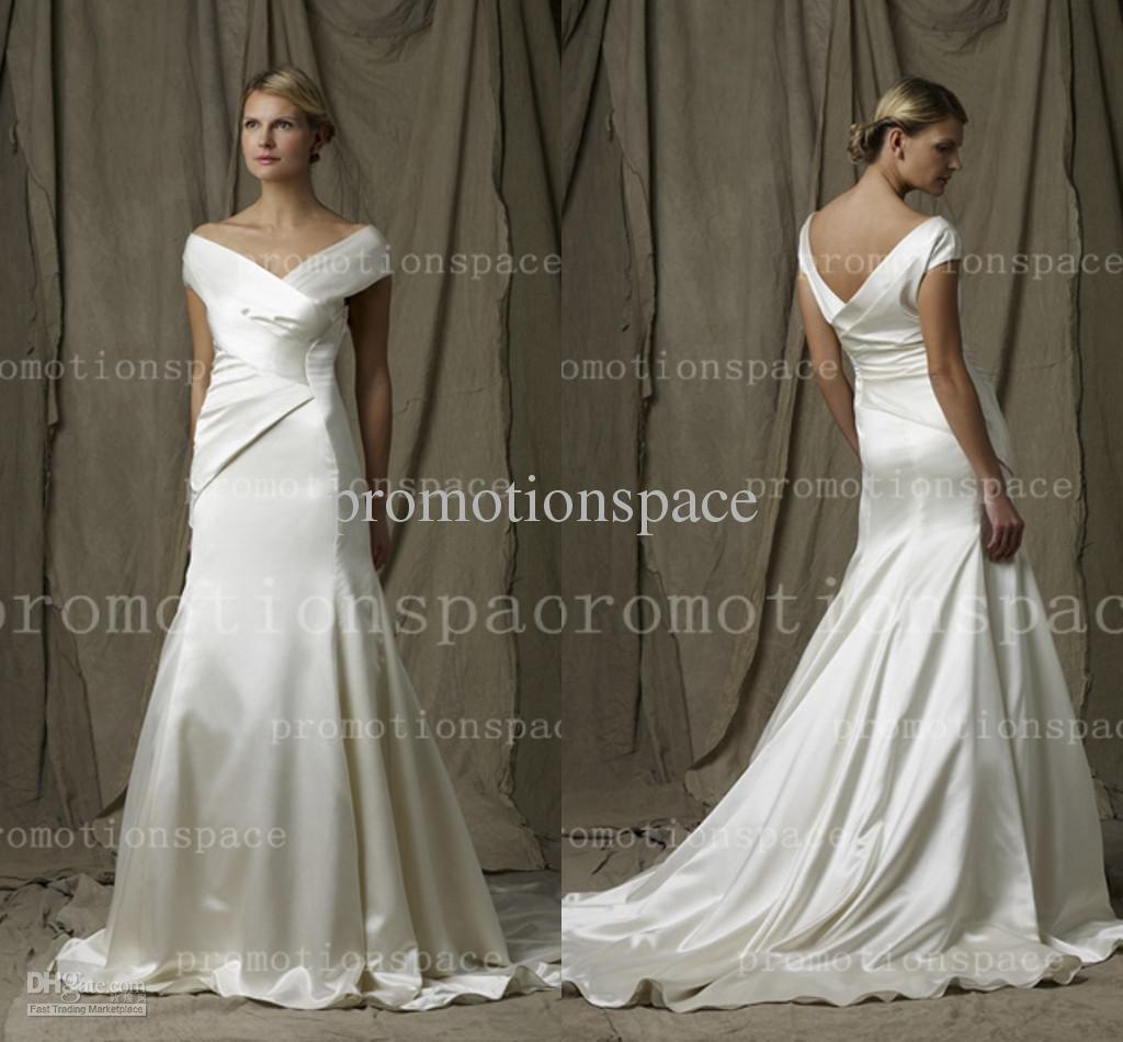 Wholesale a line wedding dresses buy cheap white satin a line