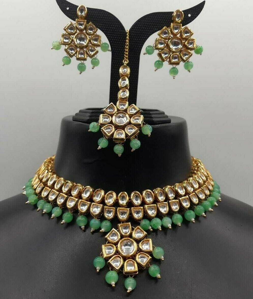 Indian Costume Traditional Gold Plated Indian Bollywood CZ Bridal Fashion Jewelry Set Turquoise