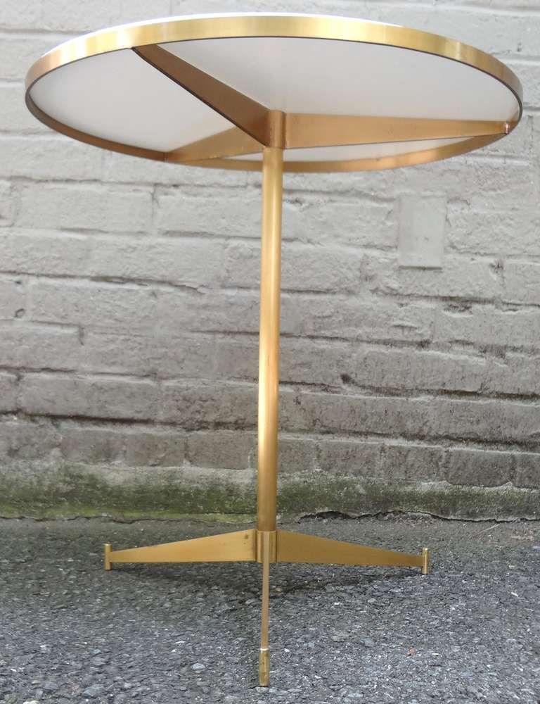 1950u0027s paul mccobb white glass and brass cigarette table image 2