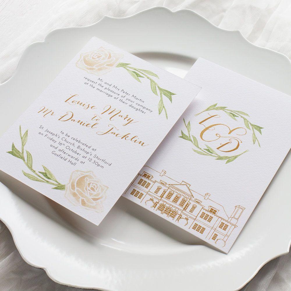 Louise and Daniel Bespoke Wedding Stationery Ivory Rose with Custom ...