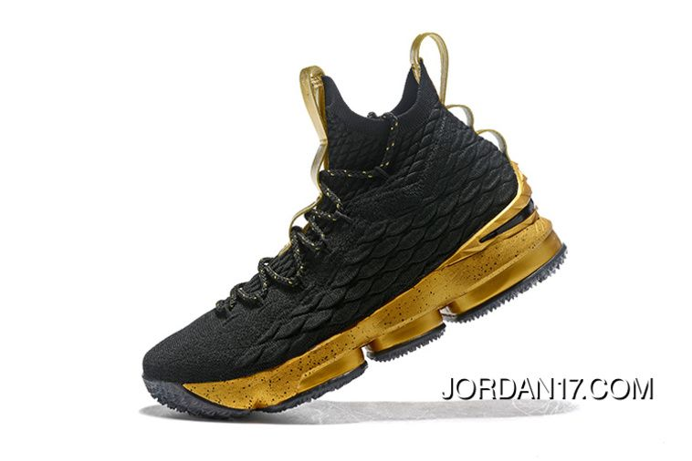 8237c5347dc LeBron James Nike LeBron 15 Mens Basketball Shoes Black Gold NBA Finals  Game 4 Copuon