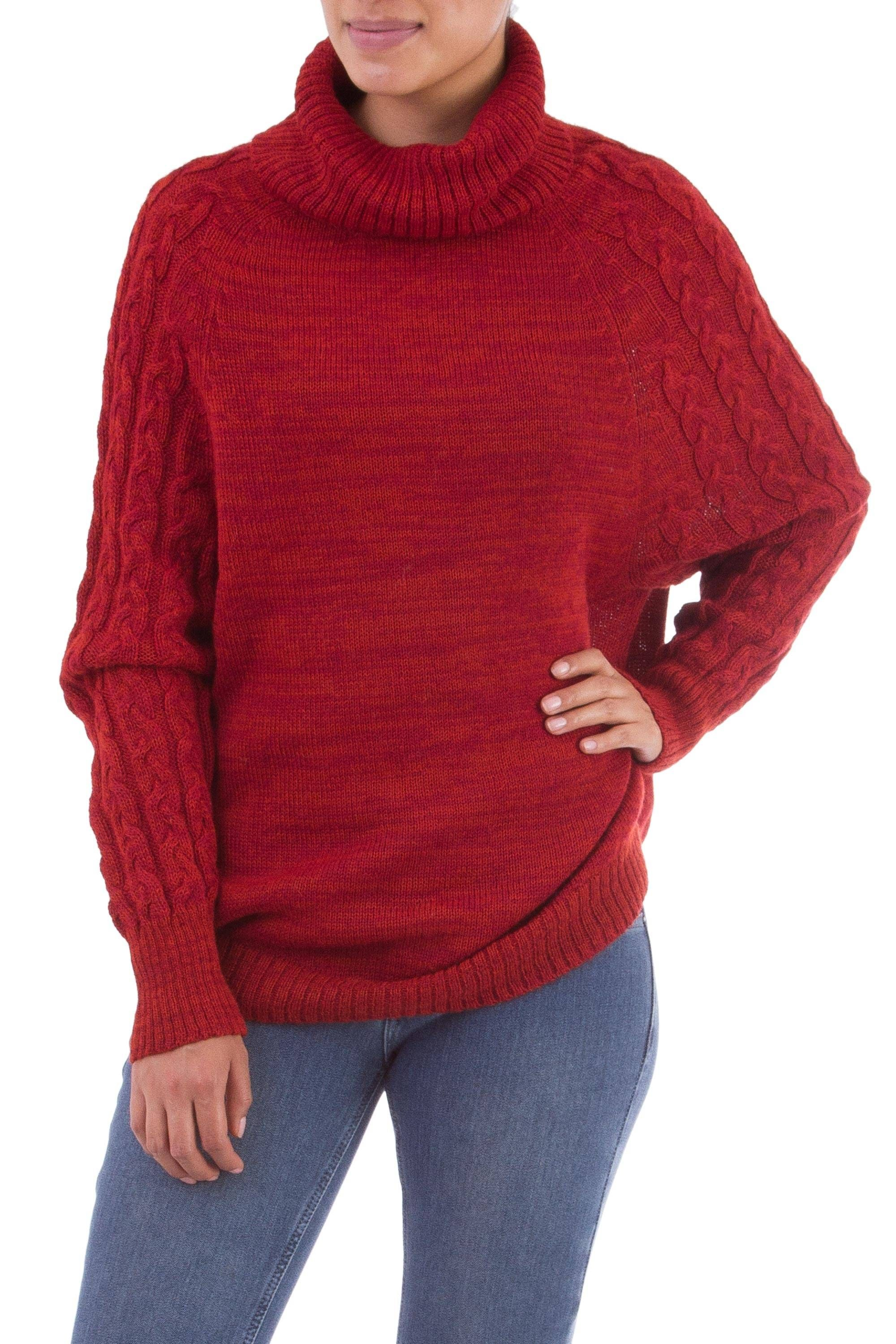 Unicef Market Knit Red Baby Alpaca Turtleneck Sweater From Peru Holiday Warmth In Red Alpaca Sweater Sweaters Baby Alpaca
