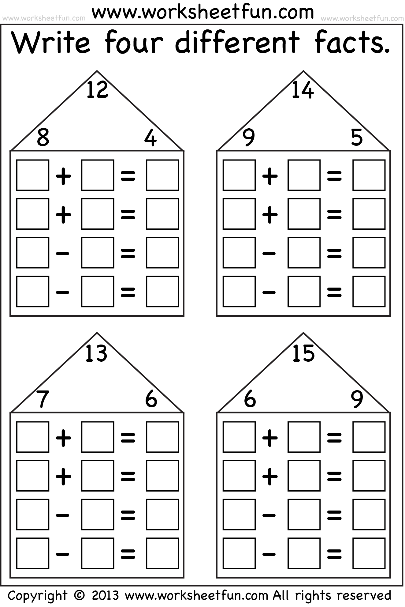 fact family math worksheets  termolak &
