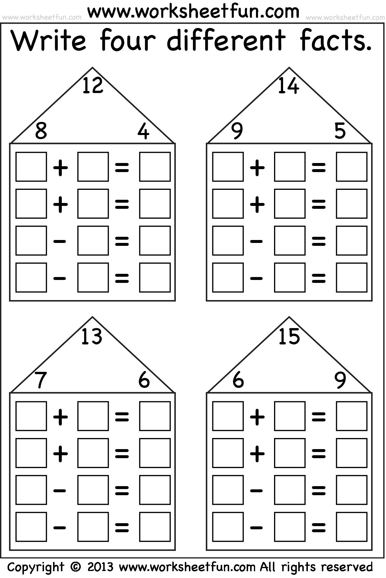 fact family  Fact family worksheet, Family worksheet, First grade