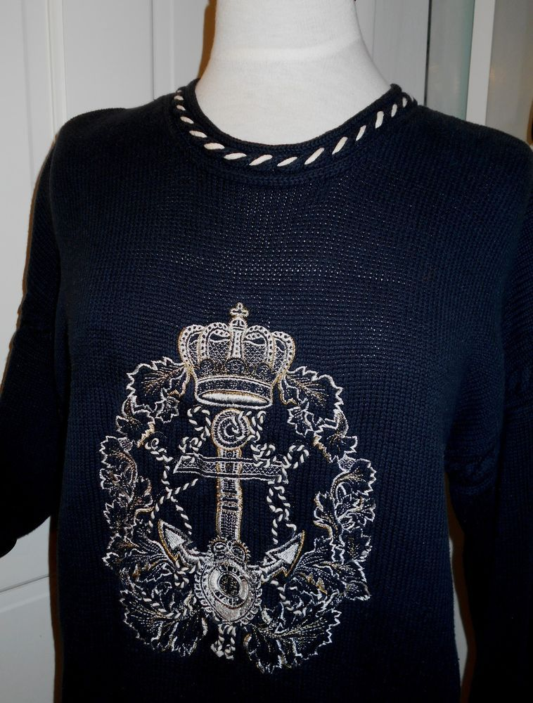 Vtg 80s Navy Blue White Sailor Nautical Yacht Anchor Crown Sweater~S-XL~REDUCED   Vintage  NauticalSweater e98ff0238