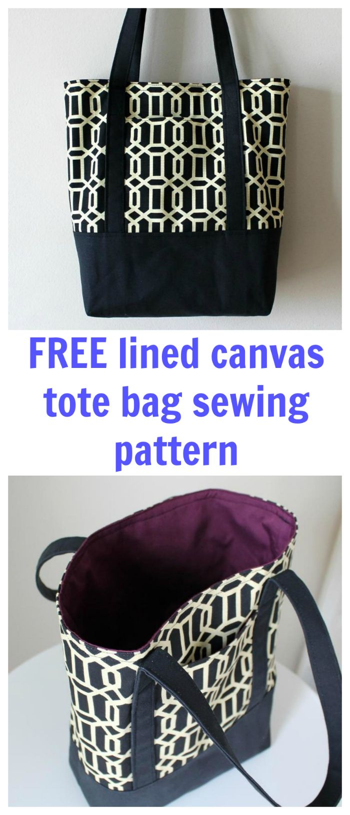 FREE lined canvas tote bag sewing pattern ready for download ...