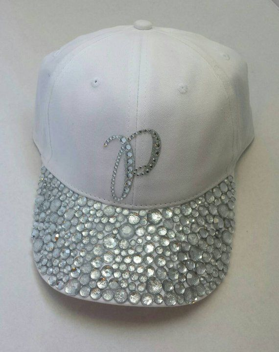 White bling hat - Custom Hat - Rhinestone Hat - Baseball Bling -  personalized hat - Crystal hat - ha cdc2dfe51e59