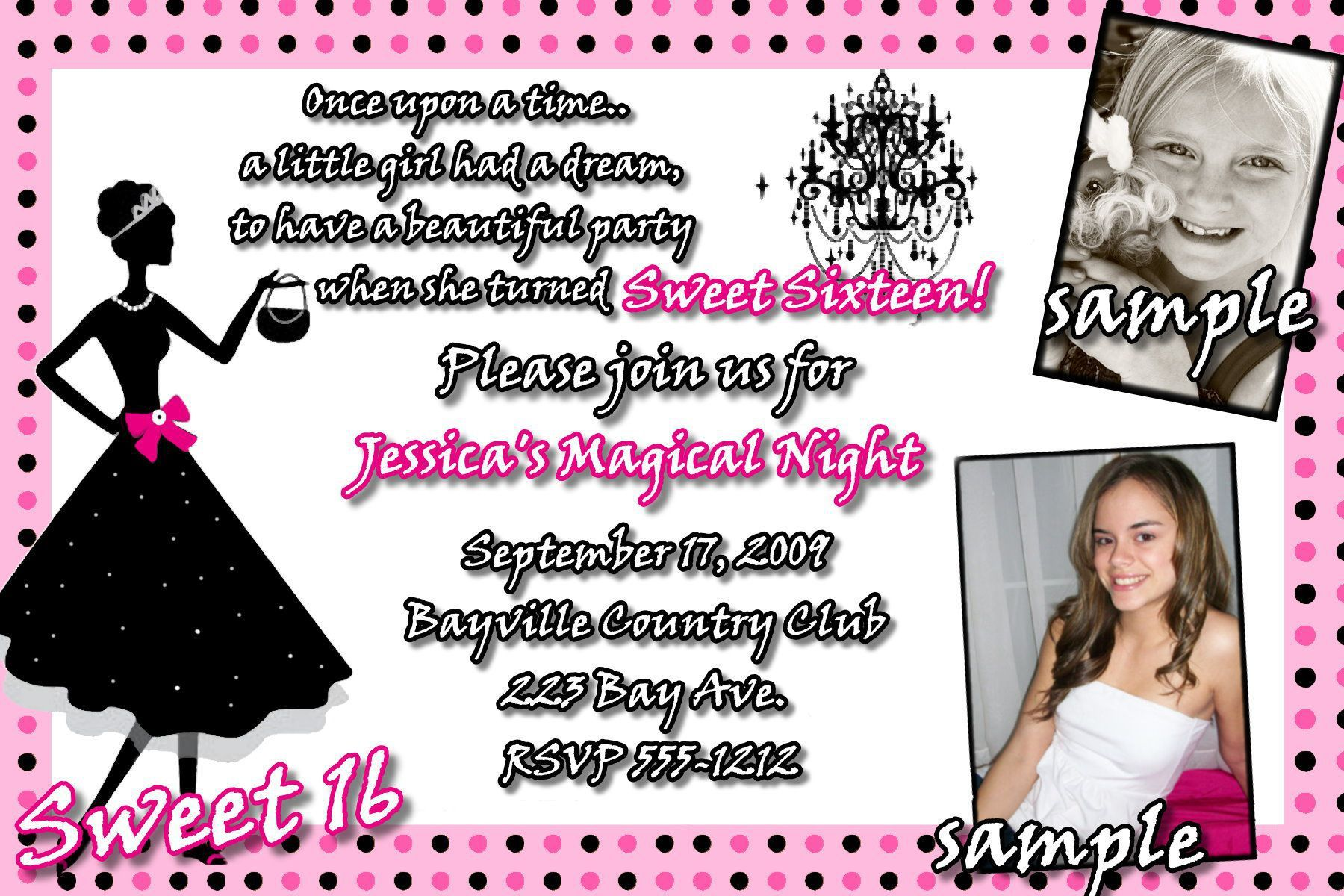 Sweet 16 Birthday Invitations Templates Free Cards