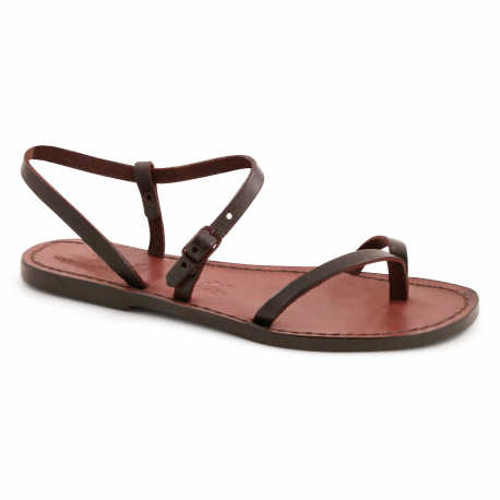 728d42e110024b Handmade dark brown flat thong sandals for women in real greased vachetta  leather with leather or rubber sole made by experts in Italy in the best  tradition ...