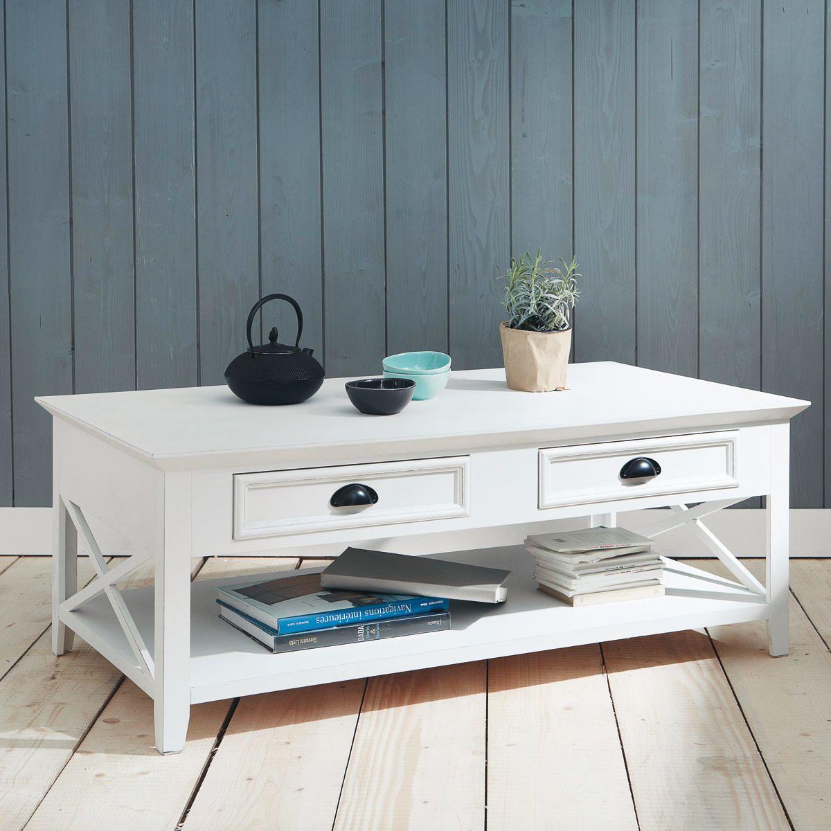 Maisons Du Monde Newport Wooden Coffee Table Table Basse En Pin Table Basse Table Basse Bois Blanc