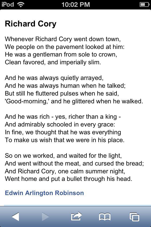 richard cory edwin arlington robinson summary