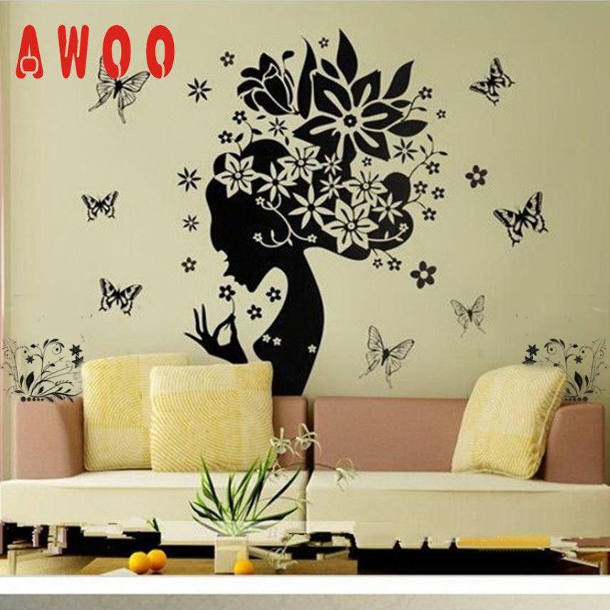 Wall Sticker 2017 Pretty Butterfly Flower Fairy Girl Pvc Wall