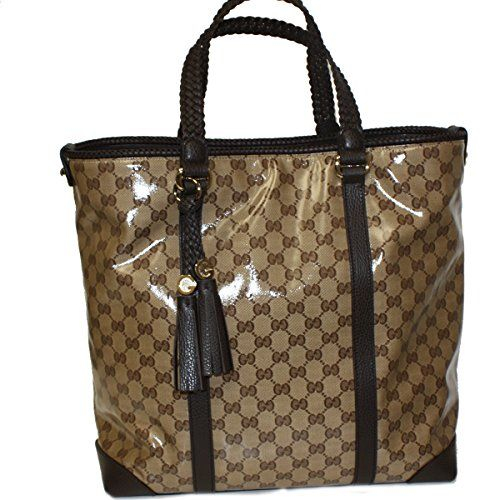 b36d8daeec8c6  Gucci Crystal Coated Canvas and Leather Large Tote Bag 336660, Brown   Authentic,