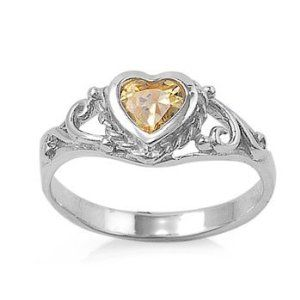 Sterling Silver Heart Baby Ring With Citrine Cz Stone November Birthstone Size 1