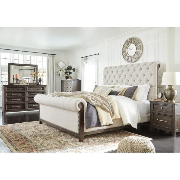 Hillcott Exclusive 5 Piece King Upholstered Bedroom In 2020 Queen Upholstered Bed Upholstered Bedroom King Upholstered Bed