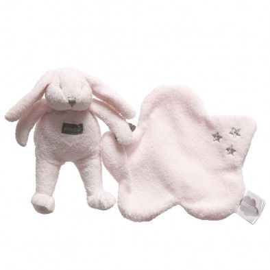 Pink Bunny Rattle with Comforter (27cm)