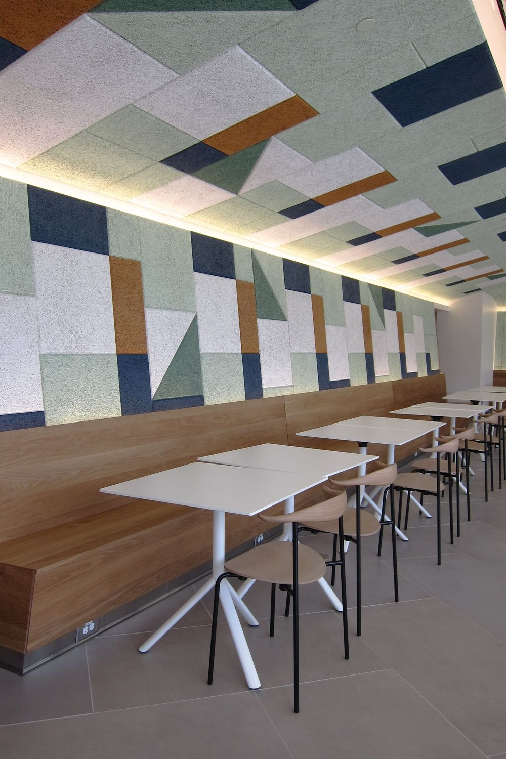 BAUX Acoustic Tiles Add Some Colourful Geometry In The New EF School, Boston U2026