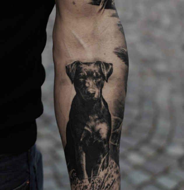 Tattoo Black Dog On Forearm Ideas Tattoo Designs Dog Portrait Tattoo Dog Tattoo Geometric Dog Tattoo