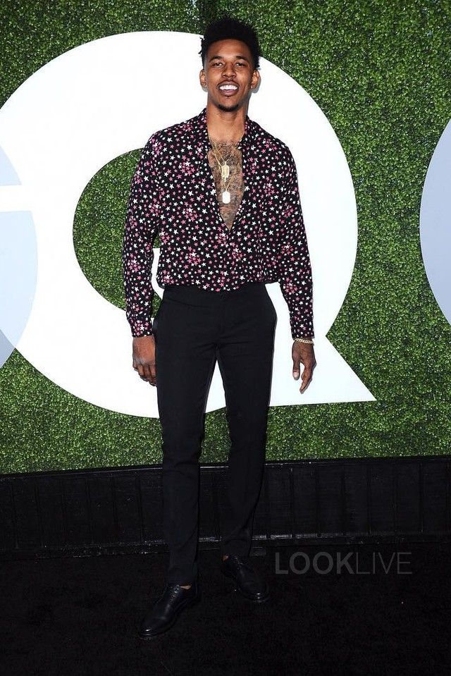 3b705a906adc Nick Young wearing Saint Laurent Star Print Shirt
