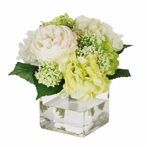 English Rose And Hydrangea Bouquet In Square Glass Vase 9 Square Glass Vase Glass Vases Centerpieces White Hydrangea Centerpieces