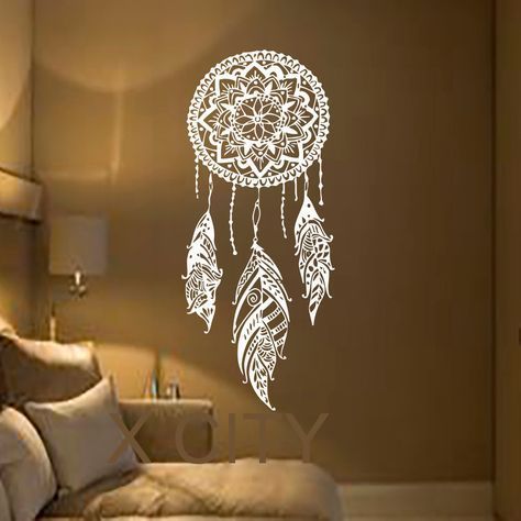 Dream Catcher Kunst Feather Vinyl Aufkleber Boho Dreamcatcher Wandtattoos  Für Schlafzimmer Kindergarten Böhmischen American Indian Amulett