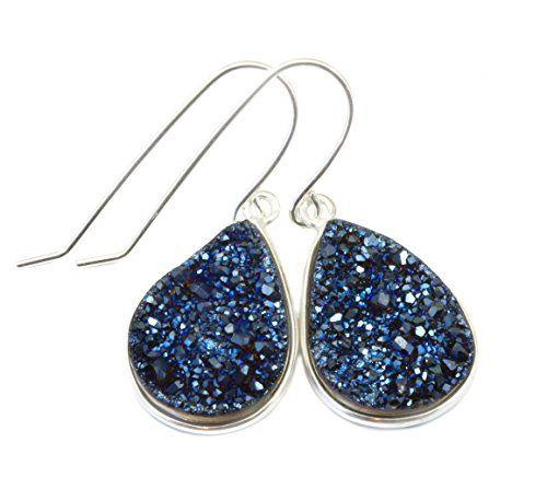 Sterling Silver Drusy Earrings Peacock Blue Druzy Large Teardrop Bezel Set Simple Drops Spyglass Designs