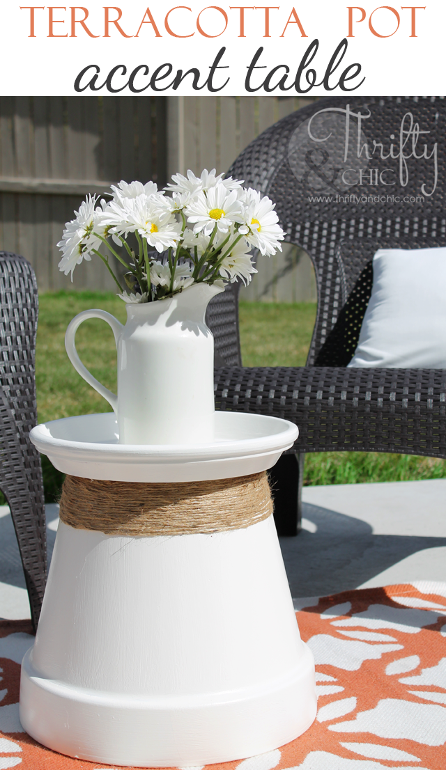 Terracotta pot recycled into accent table Thrifty
