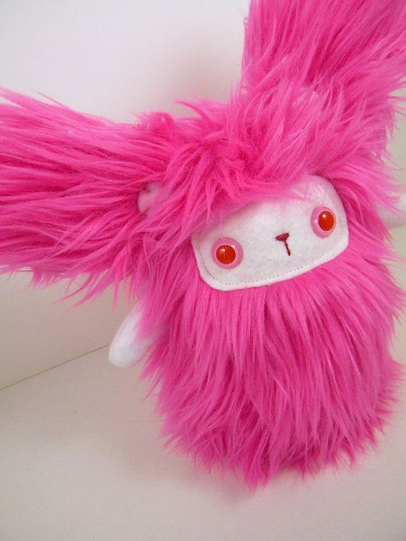 Pearl the plush bunny monster hot pink and white door TheJaeBird, $35.00