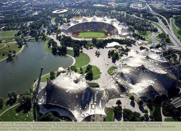Reise Deutschland Bayern Munchen Olympiagelande Olympiastadion Olympiahalle Olympia Schwimmhalle Architekt Dach Frei Paul Olympia Architektur Reisen