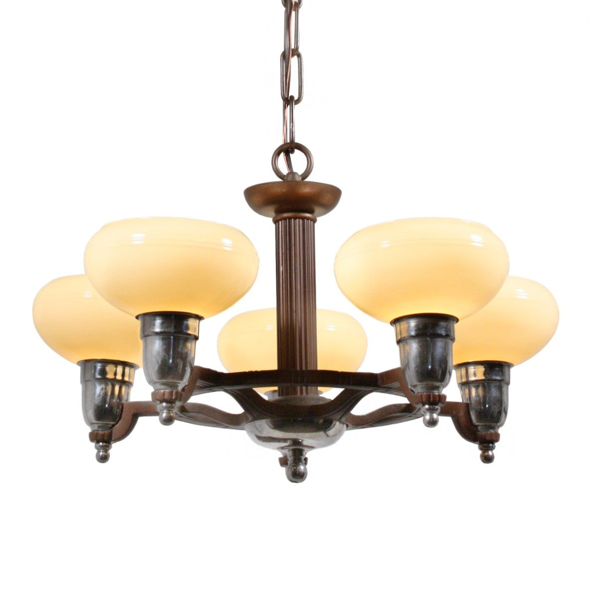 Fantastic antique art deco chandelier with original sit in shades fantastic antique art deco chandelier with original sit in shades arubaitofo Image collections
