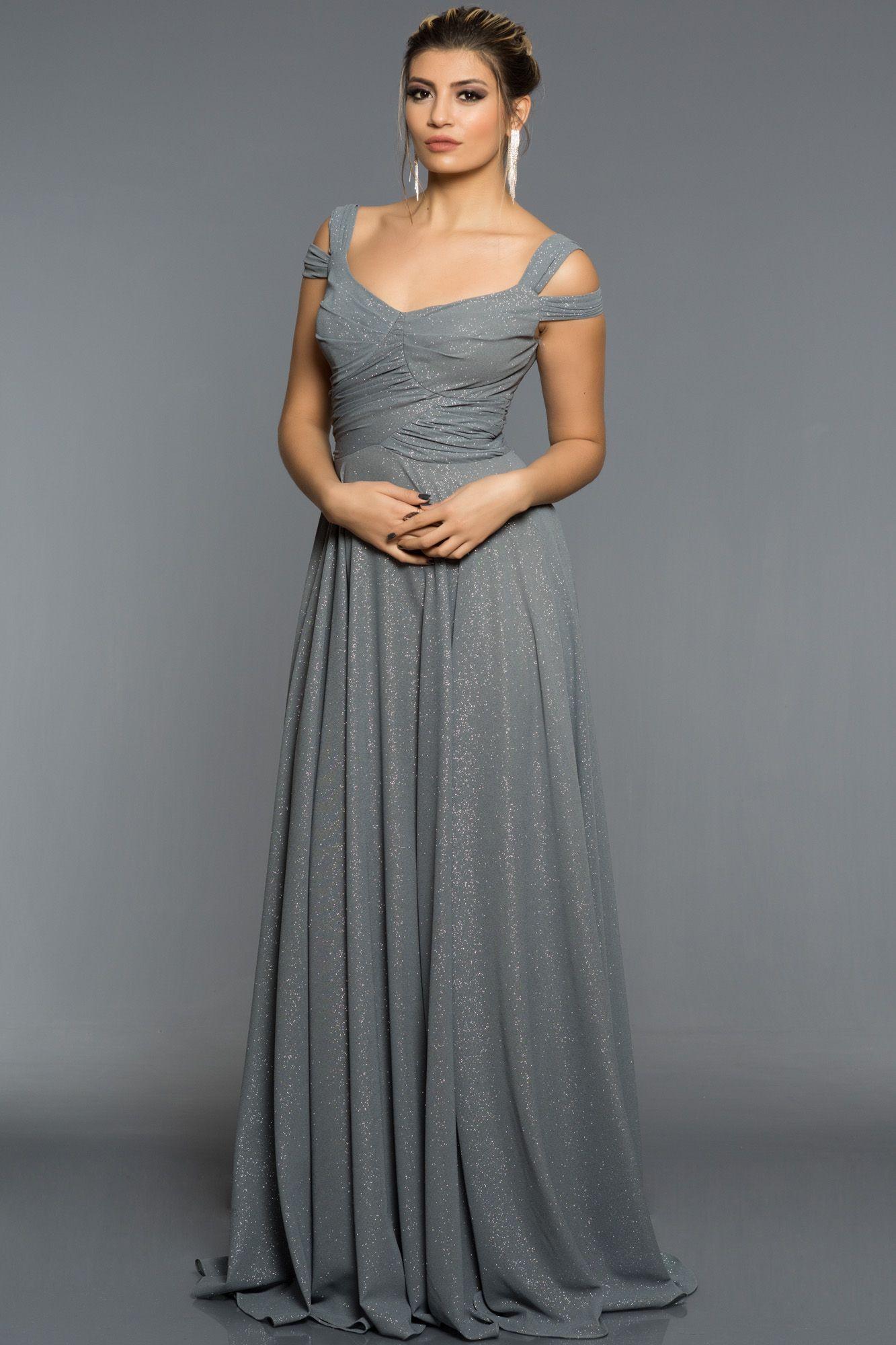Antrasit Simli Uzun Abiye Elbise An2511 Elbise Resmi Elbise The Dress