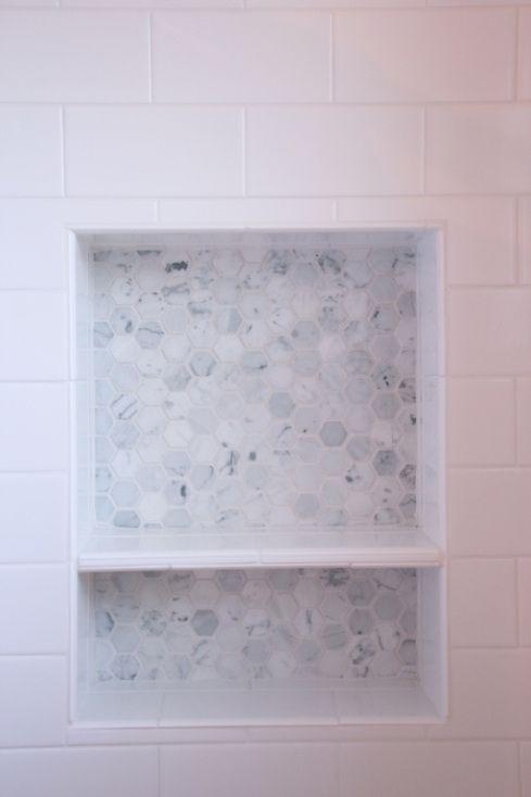 Niche Divider Not Centered Like Dislike White Subway Tile Shower Shower Niche Shower Tile