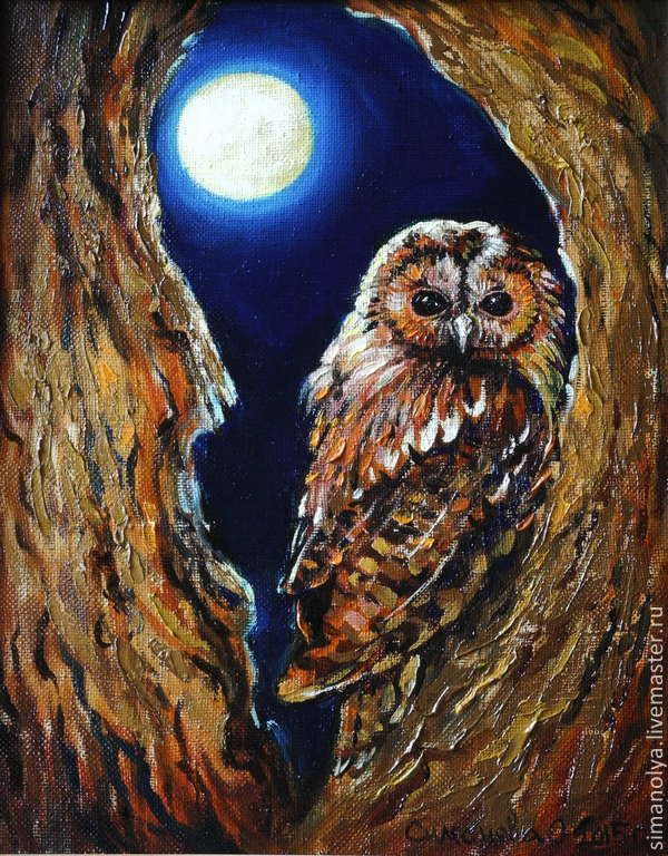 BROWN OWLS IN TREES CANVAS PRINT PICTURE WALL ART FREE UK DELIVERY