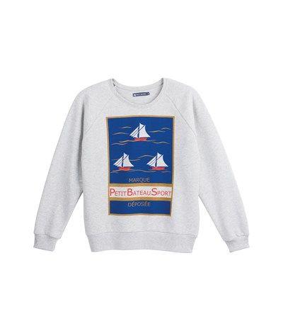 bce8d46ba2361 le petit bateau Women's silkscreen print sweatshirt in brushed fleece