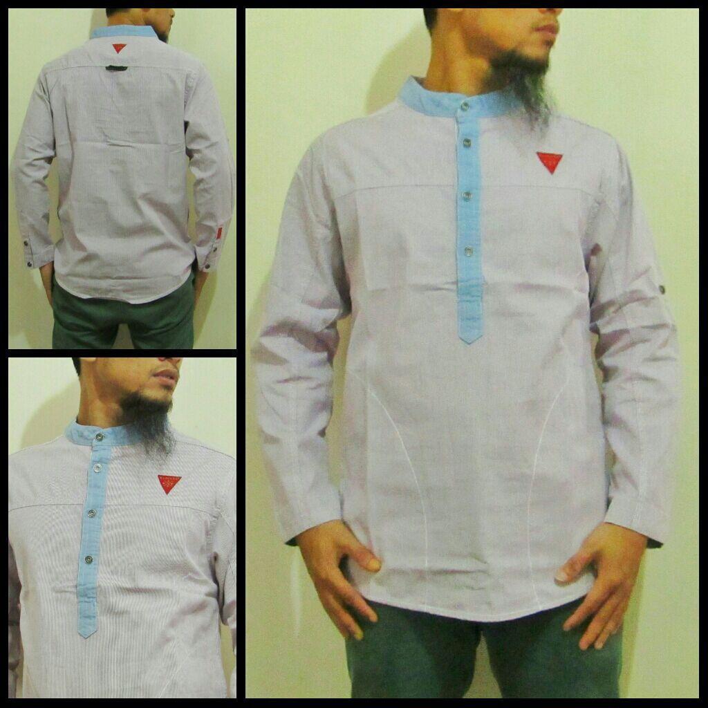 Baju Muslim Pria Modern Koko Samase Clothes Warna Abu Lengan Batik Grey M Panjang 2 Kontermuslim