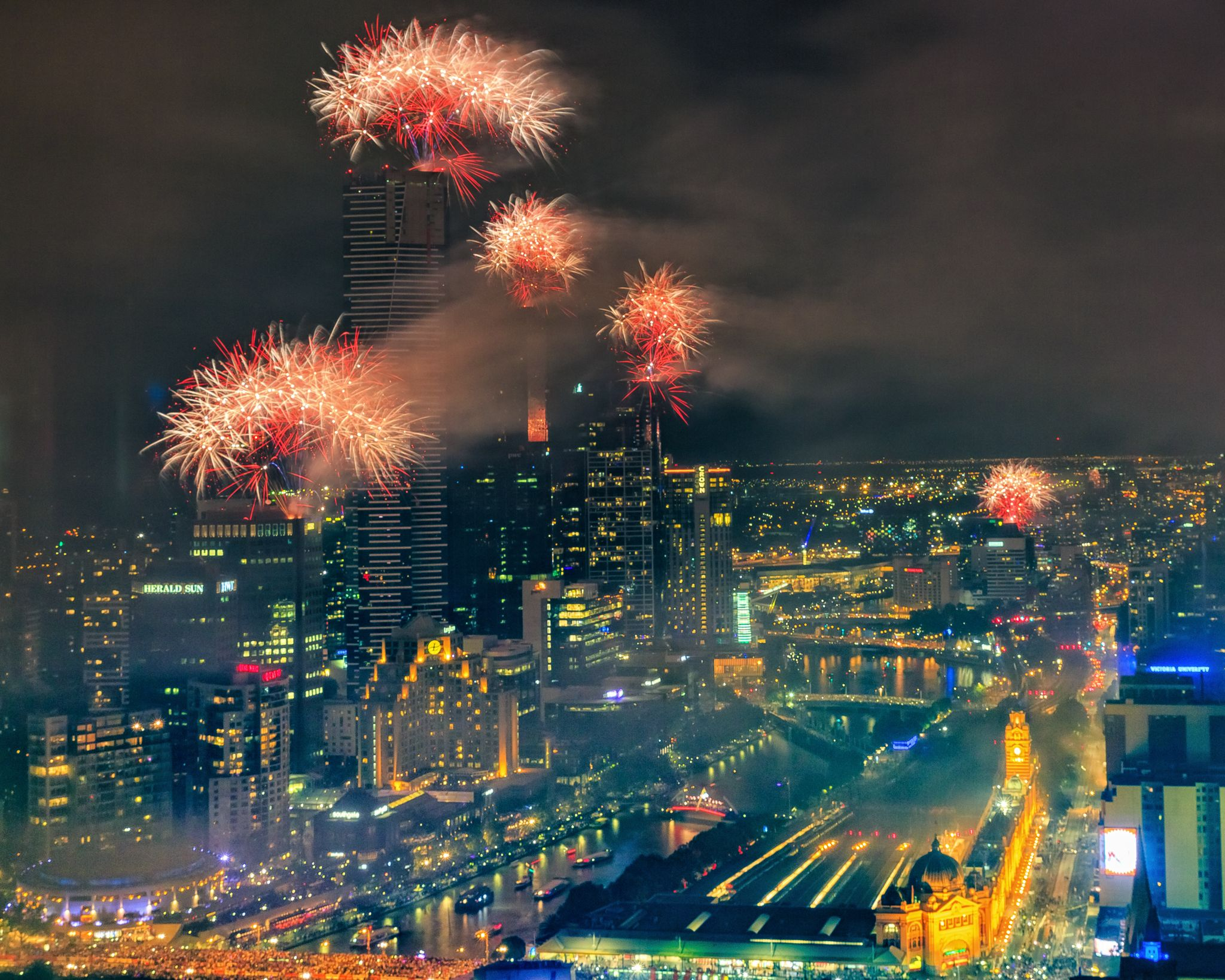 New Years Eve Melbourne taken from the 35th floor. Taken