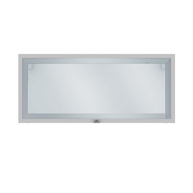 Elia Meuble de cuisine haut court 1 porte vitrée blanc 80cm ...