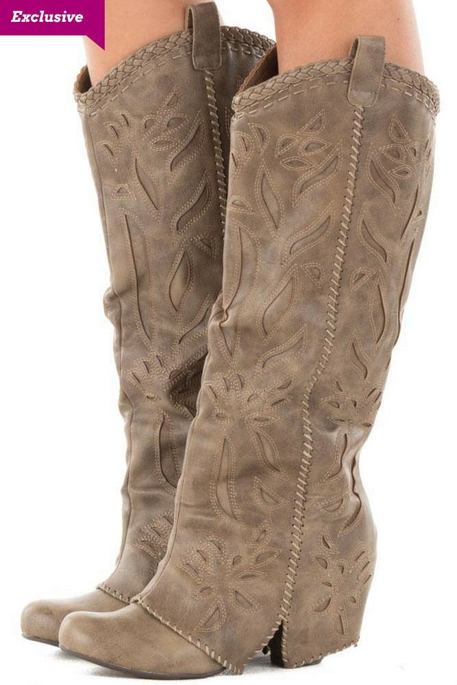 0633617567c7 Lime Lush Boutique - Taupe Overlay Tall Boot with Cut Out and Stitched  Details