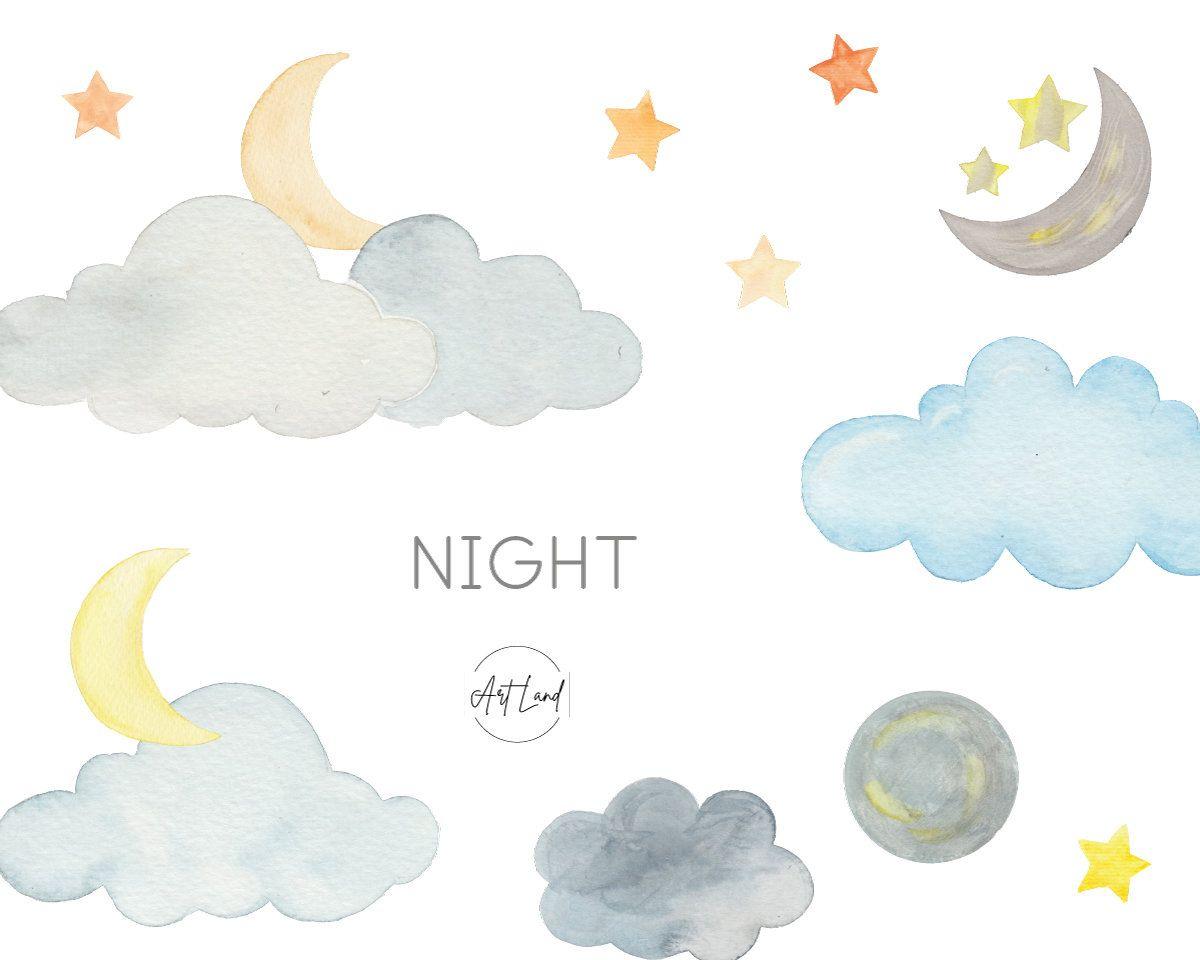 Cloud Star Moon Watercolor Clip Art Set Hand Painted Clouds Stars Watercolour Clipart Watercolor Set Clipart Night Clip Art Png In 2021 Clip Art Watercolor Clipart Art Set