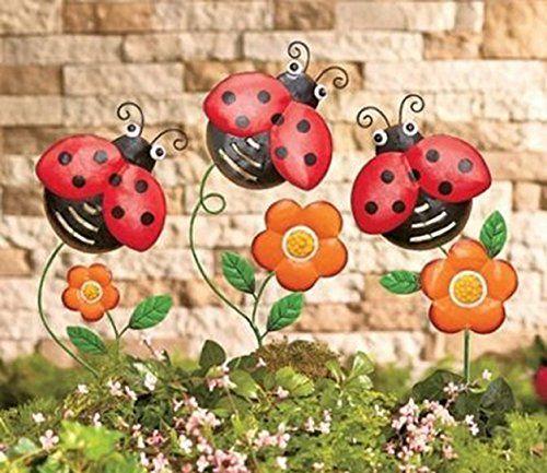 Set Of 3 Metal Ladybugs Garden Stakes Yard Art Decor LTD Http://www