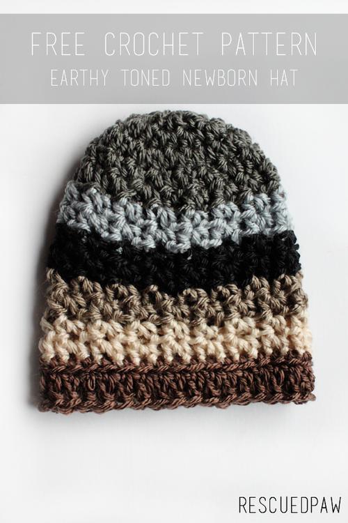 Newborn Earthy Crochet Hat {FREE Pattern} | Crafty Crochet Patterns ...