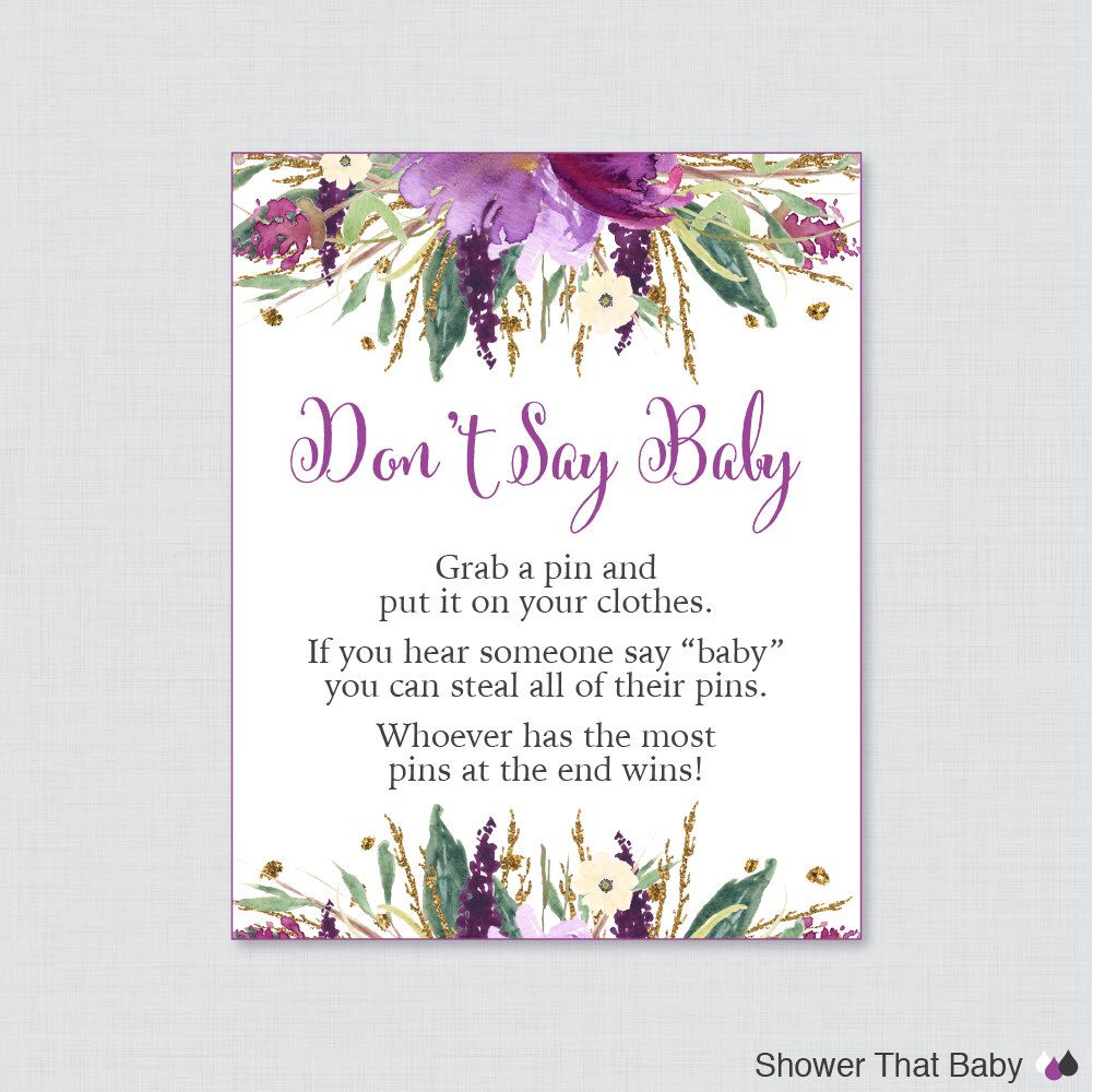 Purple Donu0027t Say Baby Baby Shower Game   Printable Diaper Pin Clothes Pin  Game, Purple And Gold Flower Baby Shower Game   0045