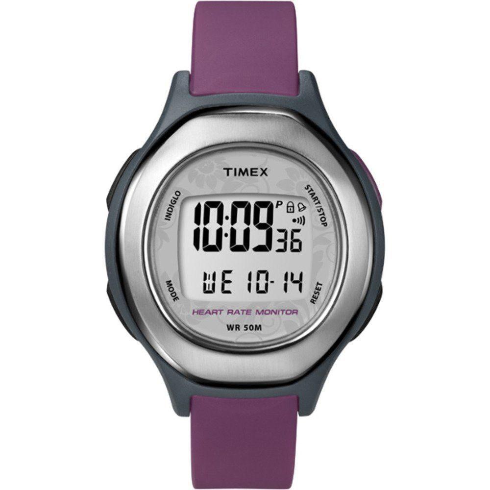 Timex T5K599 Women's Health Touch Plus Heart Rate Purple Strap Grey Resin Case Silver Tone Bezel Digital Dial Watch