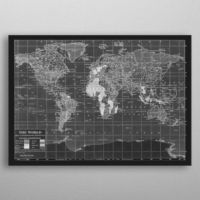 Vintage world map in black by catherine holcombe vintage vintage world map black travel decor wanderlust atlas vintage posters gumiabroncs Images