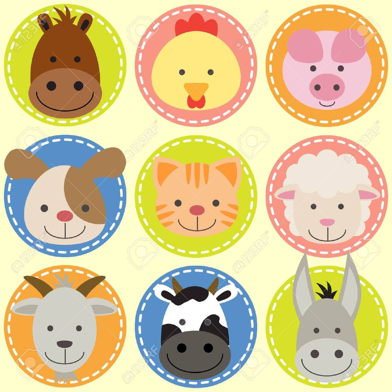 Set Of Animal Faces Ad Set Animal Faces Animal Illustration Kids Animal Crafts For Kids Animal Faces