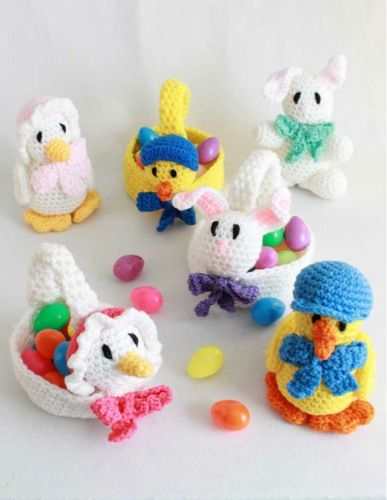 Easter is a fun time of the year for kids, bringing surprises and joy to their faces. Increase this joy by making the Easter Baskets and Toys crochet pattern. What child wouldn't love one of these delightful baskets and toys? The pattern includes instructions for three baskets, each featuring an Easter animal. Make the chick, bunny or goose crochet basket, and then make the complimenting toy to fit inside.