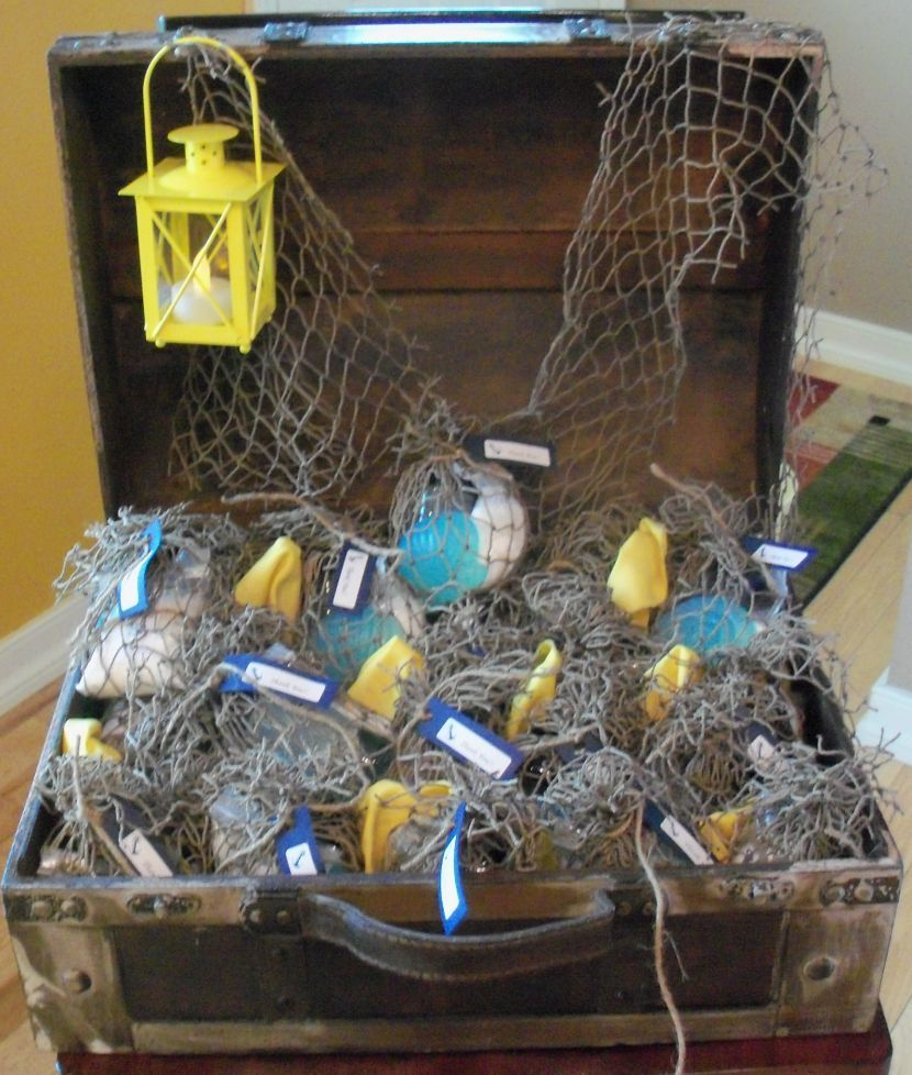 Nautical Baby Shower Table Decor With Treasure Chest Lantern And Net