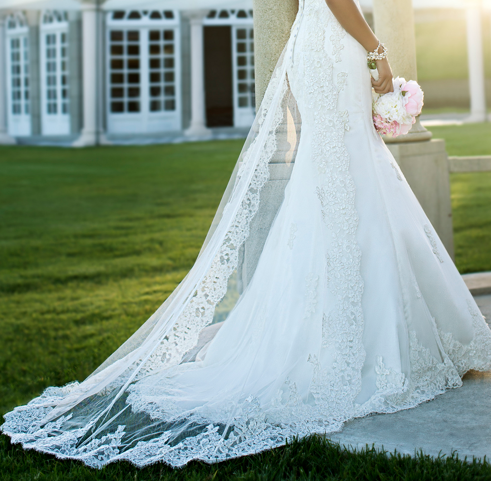 Stella York gown with a romantic lace overlay | Dressing Up ...